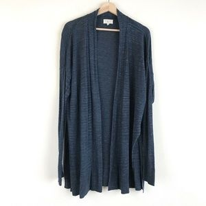 Lou & Grey Womens Blue Long Open Cardigan With Sid